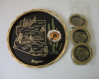 VINTAGE ARIZONA TRAY and coaster set