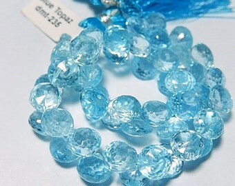 Sky Blue Topaz Gemstone, Faceted Onion Briolette, 8mm,   Semi Precious Gemstone.   2 Faceted Gemstone Briolettes. (4tz)