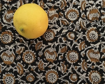 Hand Block Printed Cotton Fabric from India - Black and Mustard Floral Vine - By the Yard - Natural Vegetable Dye
