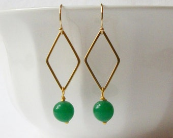 Emerald Green Drop Earrings, Eco-Friendly Jewelry by Perini