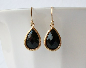 Black Crystal and Gold Earrings