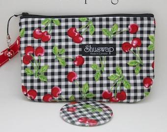 Shuswap Bags Rockabilly Gingham Cherries Wristlet and Mirror Set