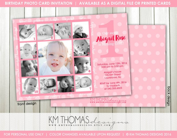 1st Birthday Photo Invitation Printable Collage Birthday