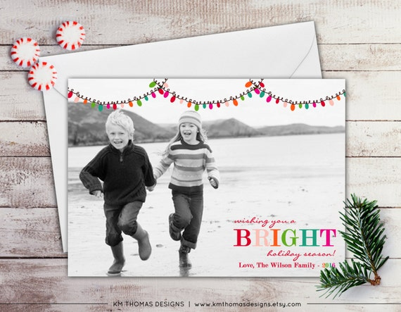 Holiday Lights Photo Holiday Card - Christmas Photo Card - Christmas Lights - Full Bleed Photo - Printable - Winter Holiday Card - WH101