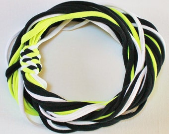 SALE T Shirt Scarf - Infinity Circle Scarves Cotton - Black Neon Yellow White Bumblebee Bee Bright