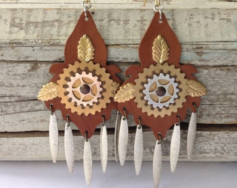 Large Brown Leather Steampunk Earrings