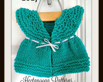 Knit Baby Sweater, Teal Baby Vest, Baby clothing, Knitting PATTERN, Preemie to 2 years, Easy Beginner pattern, # 1017, Hectanooga Patterns