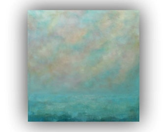 Ocean Sky and Clouds Oil Painting- Large 36 x 36 Abstract Seascape- Original Blue and White Palette Knife Art on Canvas