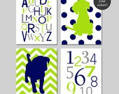 Baby Boy Puppy Nursery Art - Alphabet Numbers, Chevron Puppy and Polka Dot Puppy Dog Nursery Decor - Set of 4 Prints - CHOOSE YOUR COLORS
