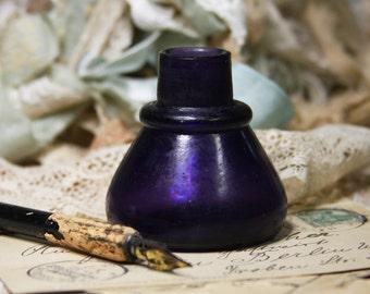Dark Purple Bottle INK WELL- Purple Cone Style Inkwell- Pen & Ink Glass Jar- Antique Writing- Penmanship D-03