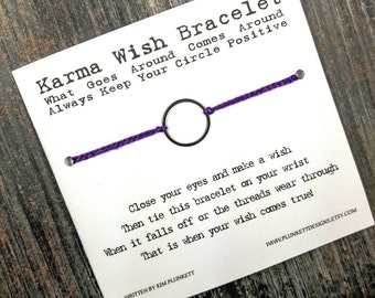 Karma Wish Bracelet - Available In Over 100 Different Colors!!!  (Large Smooth Circle Charm - Dark Silver)
