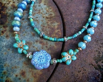 Blue flower multi strand glass beaded necklace. boho flower child