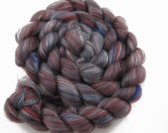 Merino Tussah Silk top, 'Vlad', commercially dyed, 4 oz.