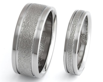 Frost Titanium Wedding Bands - Matching Ring Set - Textured Titanium - f5 Set