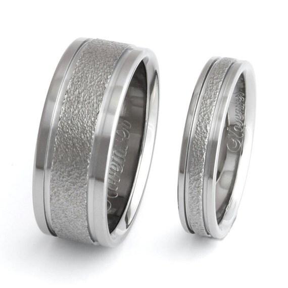 Frost Titanium Wedding Bands - Matching Ring Set - Textured Titanium - f5 Set