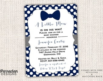 Little Man Baby Shower Invitation, Bow Tie Baby Shower Invitation, Invite, Digital, Printable File {BS57}