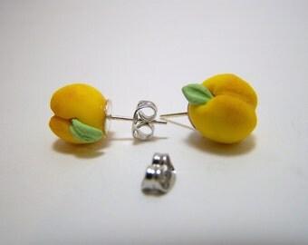 polymer clay peach earrings stud / dangle earrings