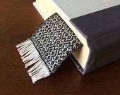 Black handwoven cotton bookmark