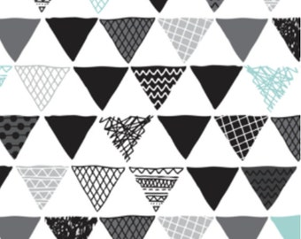 Triangle Fabric - Geometric Tribal Aztec Triangle Blue Modern Fabric By Little Smile Makers - Triangle Fabric with Spoonflower - By the yard