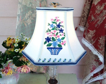 "Lamp Shade Embroidery, Floral Lampshade, 5""t x 10""b x 7.5"" high, Blue Hex Bell Shade made from vintage tea towel, Cottage Decor"
