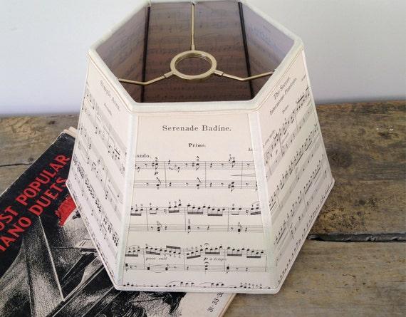 Music Lamp Shade Paper Lampshade Vintage Sheet By Lampshadelady