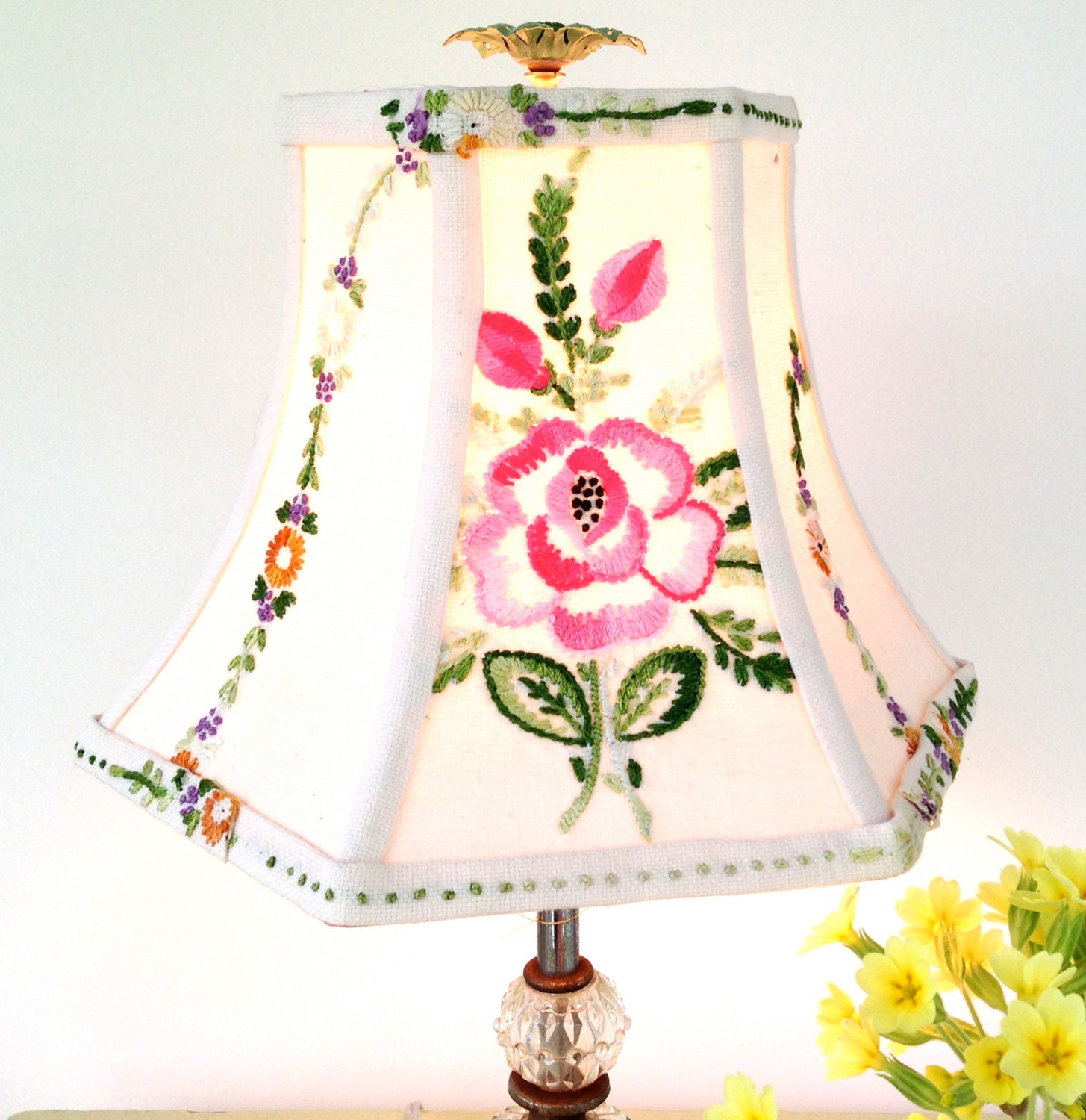 Pink Floral Lamp Shade Lampshade In Vintage Embroidery
