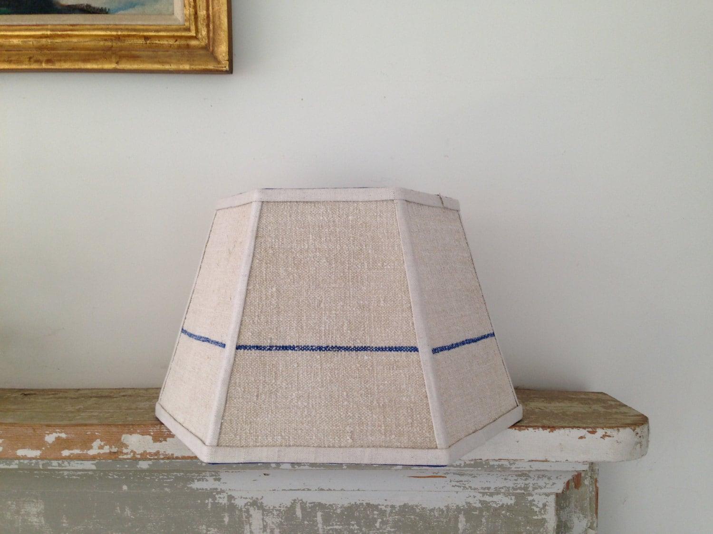 blue lamp shade lampshade single stripe grain sack. Black Bedroom Furniture Sets. Home Design Ideas