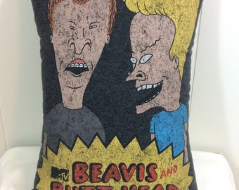 Decorative Pillow, Accent Pillow, Throw Pillow, Sofa Pillow, Couch Pillow, Bed Pillow, Gray Pillow, Beavis and Butthead, Gift For Him