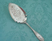 Silver Cake Server, Pretty Embossed Antique Pie or Cake Server by Rogers, Smith & Co., Silverplate, Filigree, Wedding, Vintage Wedding