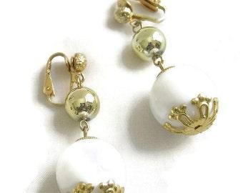 Vintage Gold Bead and White Ball  Dangle clip Earrings signed Hong Kong