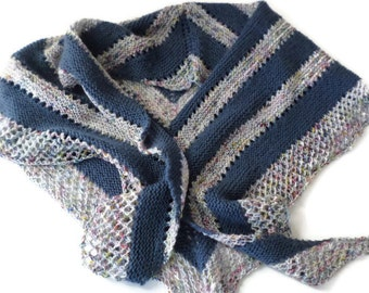Shawl - Hand Knit Blue and Speckled Striped Shawl - Blue Jeans Shawl - Casual Shawl