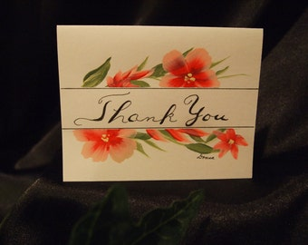 Set of 12 Thank Yous, Hand Painted Floral