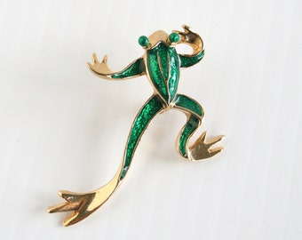 Green Frog Brooch Vintage Green Enamel Tree Frog Figural Pin