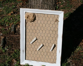 Shabby White Burlap Message Board with Chicken Wire and Burlap Flower