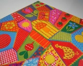 Vintage 1970s Hippie All Occasions Wrapping Paper Colorful Patchwork Quilt Gift Wrap