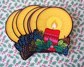 10 Vintage 1970s Kitsch Christmas Party Invitations Die Cut Christmas Candle Cards Blank Notecards Thank You Notes