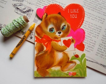 Vintage Valentines Day Card Woodland Animal Anthropomorphic Squirrel and Ladybug Hallmark Card