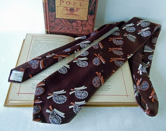 Vintage 1970 Wide Retro Tie Necktie Striplings Brown and White Novelty Paisley Tie
