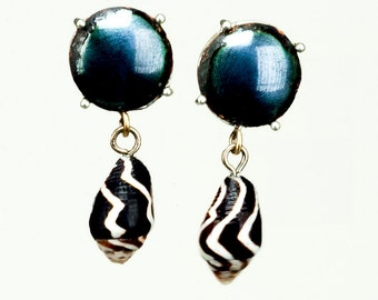 Enameled Steel and Sea Shell Earrings