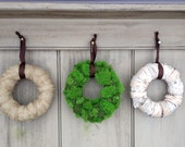 Set of 3 Woodland wreaths. Green moss, burlap and white birch bark. This trio is a nice addition to your nature themed wedding or home.