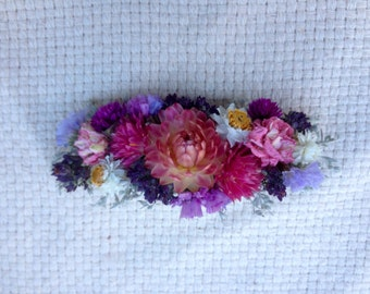 All real dried flower hair clip or barrette.  For your wedding or special event.