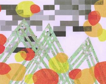 Orange Medley, art print, abstract art, abstract landscape, mountains, map art, modern art, mod art, wall decor, orange, green grey, mid cen