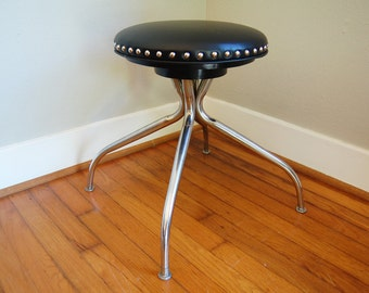 Steampunk stool,Chrome stool,Industrial Stool, Metal Stool, Factory Stool,Vintage Stool, Work Stool, Shop Stool, black vinyl