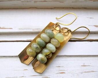 River Rocks earrings, gemstone and brass spear and shield dangle earrings