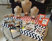Navy and Orange Reversible Chevron Table Runner