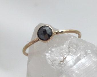 Diamond and 14k Gold Engagement, Alternative Engagement, Rose Cut Diamond Ring, Black Diamond Ring