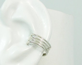 Ear Cuff, Silver Ear cuff, Non-pierced, Cartilage Wrap Earring Fake Conch, No Piercing Cuff,Faux Pierced Hoop 4 Strand Round ERW4STSS