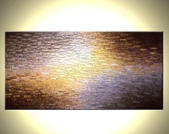 Original Painting By Dan Lafferty, Gold Metallic Painting, Abstract Art, Bronze Palette Knife Paintings, Modern Textured Impasto Art - 48x24