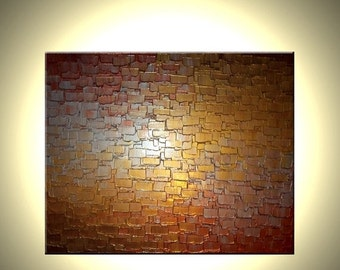 Palette Knife Painting, Metallic Art, Textured Paintings, Abstract Gold, Copper Silver, Canvas Sculpture, Fine Art by Lafferty - 24 X 30