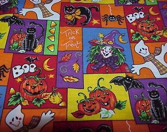 "Halloween FABRIC--42"" x 42""--Oakhurst Textiles--Signature Classics--Colorful Motifs--Cotton"